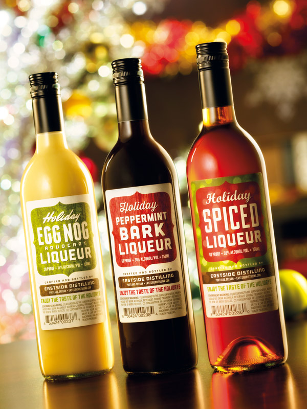 Eastside Holiday Liqueurs  labels by Deluxe Creative Co.